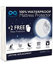 Everlasting Comfort Waterproof Queen Size Mattress Protector - 2 Pillow Protectors - Fitted Sheet Cover for Bed - Quiet Dual Layer Plastic Membrane Pad