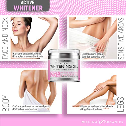 Bleaching Cream for Intimate Areas - Made in USA - Potent Whitening Cream with Arbutin (Glycosylated Hydroquinone), Hyaluronic Acid & Aloe Vera - Dark Spot Remover for Body & Skin Lightener - 1.7 Oz 5