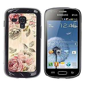 TopCaseStore / la caja del caucho duro de la cubierta de protección de la piel - Fabric Texture Vintage Cloth Wallpaper - Samsung Galaxy S Duos S7562