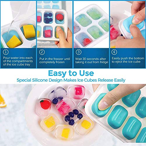 Ice Cube Trays 4 Pack, Stackable Easy Release Silicone Ice Trays with Lid for Freezer, 14-Ice Maker Mold, BPA Free, Flexible Durable Dishwasher Safe. By MERRYBOX. 2Blue+2Pink