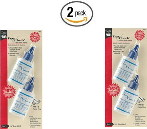 Dritz 1674 Fray Check Liquid Seam Sealant, 0.75-Ounce, 2-Pack (x2) (Fray Check)