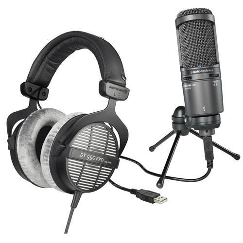 Audio-Technica AT2020USB+ Cardioid Condenser USB Microphone, Built-In Headphone Jack, - Bundle With Beyerdynamic DT 990 Pro 250Ohms Dynamic Open Headphone