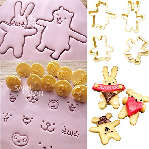Saasiiyo SLH269 rabbit bear face expression Fondant Gum Paste Biscuits Cutter Decorating Sugarcraft Tools Kitchen Cookie (Party City Locations Nyc)