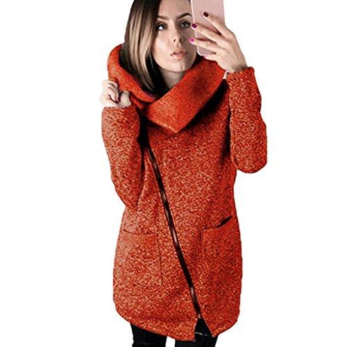 Kolylong Manteaux Hiver Femme Grande Taille Veste  Capuche Manteau Long Fermeture clair Sweatshirt Casual Chemisiers Outwear Sport Orange