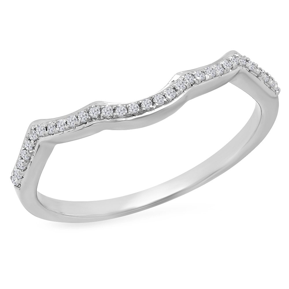 Dazzlingrock Collection 0.10 Carat (ctw) 10K White Diamond Ladies Wedding Band Contour Guard Ring 1/10 CT, White Gold, Size 6