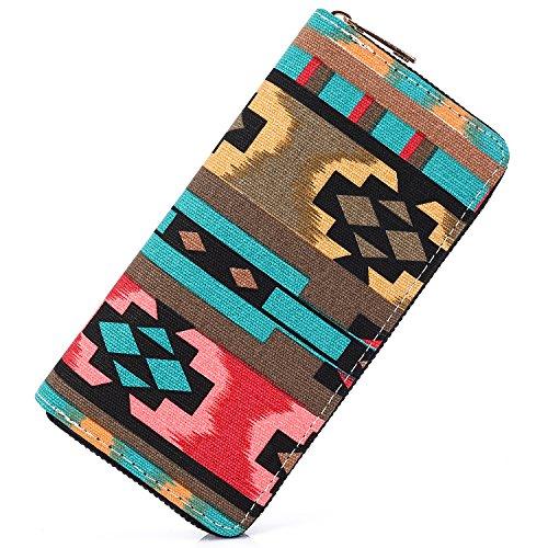SANSARYA Boho Women Wallet Zip Hippie Long Purse Aztec Tribal Ladies Clutch Wallets Card Holder (Bohorhombus)