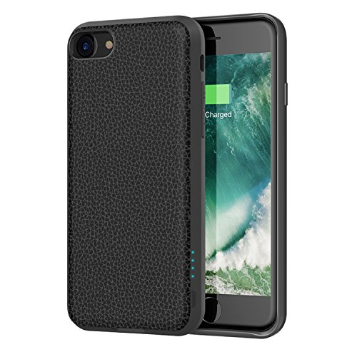 iPhone 8 / 7 Battery Case - Support Lightning Port Headphones, iDLEHANDS Charging Case, Rechargeable Battery Pack Power Case for iPhone 8 / 7, 2800mAh, Charge and Sync (Black with Leather Pattern)