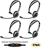 Panasonic 4 Pack Hands-Free Headset with Foldable Comfort Fit Lightweight Headband and Flexible Optimum Voice Microphone with Volume Control and Mute Switch For The Panasonic KX-TG6644B – KX-TG6645B DECT 6.0 Cordless 4 Handset Digital Cordless Phone and Answering System, Office Central
