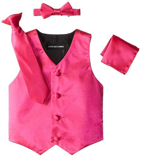 (American Exchange Little Boys's' Satin 4 Piece Vest Set, Fuchsia,)