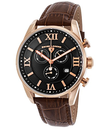 Swiss Legend Men's 'Bellezza' Swiss Quartz Stainless Steel and Leather Casual Watch, Color:Brown (Model: - Legend Men Swiss Watches