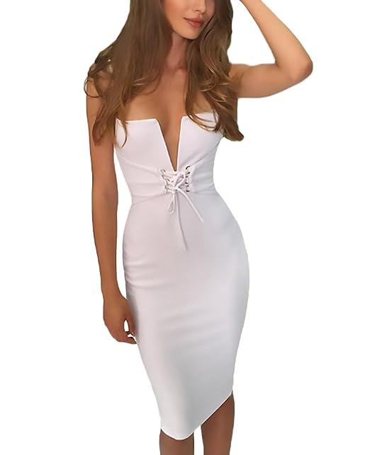 Adelina Mujer Vestidos De Fiesta Verano Elegantes Bodycon Vestido Sin Mangas Tirantes Escotados V Cuello Dresses