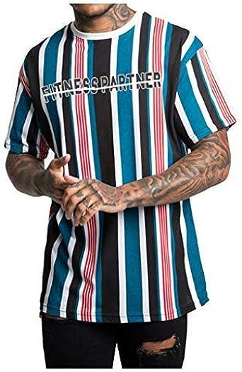 Berimaterry Camisa Lino Hawaiana Hombre Impresión de Hawaii Manga Corta Camisas Funky Blusa Camisetas Retro Raya holgadas de Color Liso Camisa Casual de Verano Camisa de Playa Tops Blusa: Amazon.es: Ropa y