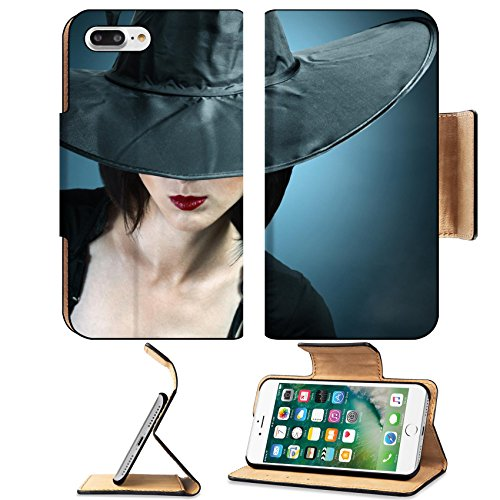 Female Loincloth Costume (Luxlady Premium Apple iPhone 7 Plus Flip Pu Leather Wallet Case iPhone7 Plus 34578837 Young woman in a witch costume her face covered with a hat)