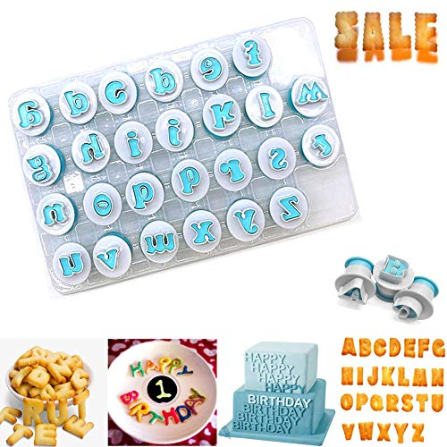 Alphabet Letters Numbers Cake Mold Letter Molds for Fondant Plastic Alphabet Cookie Cutter Set Fondant Cutter Mold Biscuit Baking Mould Great Decorative Tools for Birthday Cake