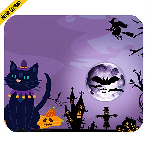 Bernie Gresham Mouse Pad Funny Mousepad Halloween Pumpkin cat Background Gaming Mouse pad Mousepad Home/Office Dust and Stain Resistant (9.84