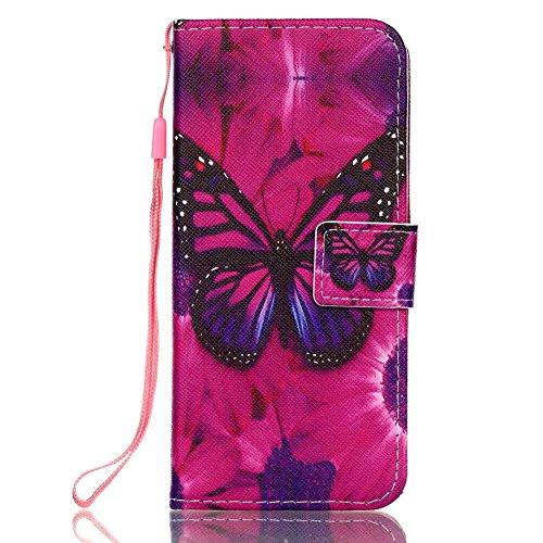 Hülle für Samsung S9, Galaxy S9 Brieftasche Schutzhülle, Aeeque Romantisch Pink Kirsch Muster Flip Tasche im Bookstyle mit Kartenfach Trageschlaufe Kunstleder Handyhülle Etui Wallet Case Cover Schale  Schwarzer Schmetterling
