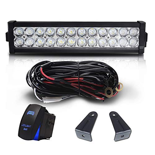 DOT Approved 12 Inch 72W Led Light Bar Combo Grill Windshield Bumper W/Rocker Switch Wiring Harness for Trailer Boat SUV ATV Truck Jeep Wrangler Dodge Chevy RV Ford F150 F250 Tractor Toyota