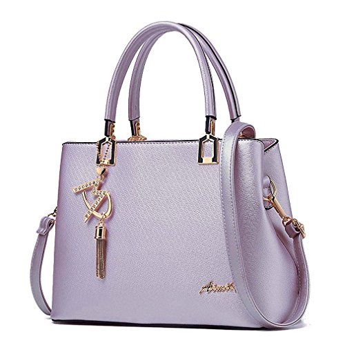 - Womens Purses and Handbags Shoulder Bags Ladies Designer Top Handle Satchel Tote Bag (Light Purple)