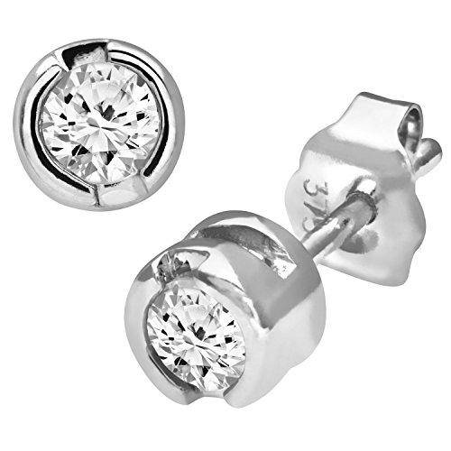 Revoni Bague en or blanc 9carats-Rub de Quart carat Diamant Boucles d'oreilles