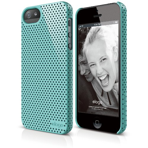elago S5 Breathe Case for iPhone 5/5S + HD Professional Extreme Clear film included - Full Retail Packaging (Coral Blue)