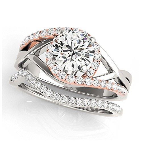 14K White Gold Unique Wedding Diamond Bridal Set Style MT50911
