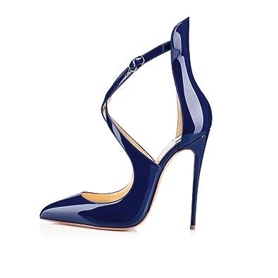 EDEFS Escarpins Femmes Talons Hauts Boucle Cheville Aiguille Bout Pointu Soirée Mariage Grand Taille Bleu T.35 zv4aw