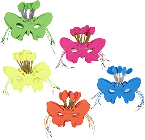 Masquerade Masks – 36-Pack Venetian Ball Party Face Masks, Butterfly Mask for Carnival, Mardi Gras, Halloween, Cosplay Events, Assorted Colors, 7.25 x 6.75 Inches