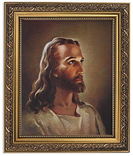 Gerffert Collection Sallman Head of Christ Catholic Framed Portrait Print, 13 Inch (Ornate Gold Tone Finish Frame) (Picture Jesus)