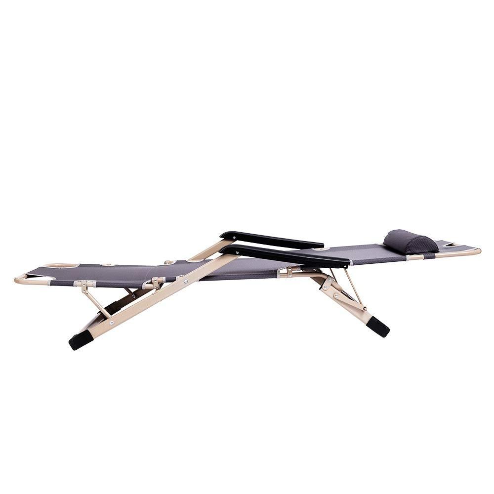JINGXIANG Hem kontor hopfällbar tupplur vilstol sittande läggning Siesta bänkstol soffa fiske strand stol utomhus kontorsstolar (färg: svart) Mörkgrå