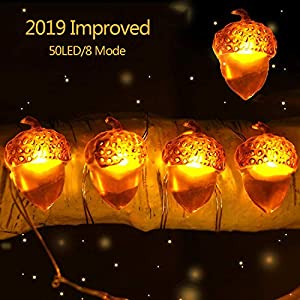 Gamegie Thanksgiving String Lights,Fall Decor 16ft 50 LED /8 Modes Battery Powered with Remote, Fall Decorations for Thanksgiving , Christmas ,Indoor Outdoor Use