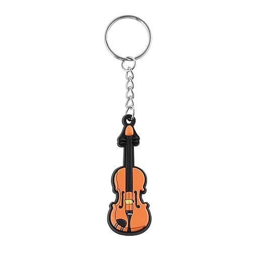Nueva forma de violín Mini llavero de silicona Llavero ...