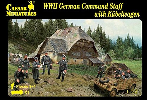 - Caesar Miniatures H095 WW2 German Command Staff & Kubelwagen 1/72 Scale Models