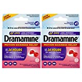 Dramamine All Day Less Drowsy Motion Sickness Relief | 12 Count Chewable Tablets | Pack of 2