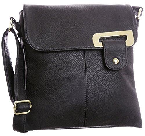 Big Handbag Shop - Bolso bandolera mujer Negro - Detalle Oro