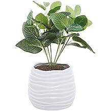 5.5 Inch White Ceramic Wavy Design Plant Flower Planter Container Pot / Decorative Centerpiece Bowl Vase