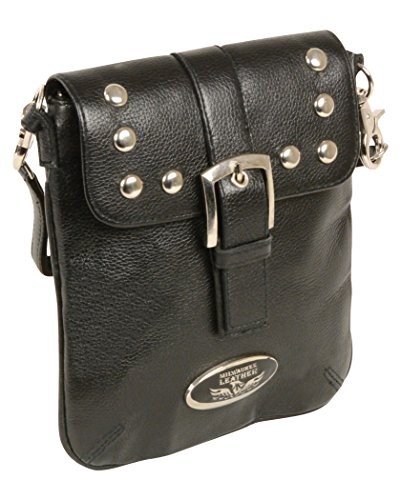 Milwaukee Leather MP8805-BLK-PCS Black Ladies Studded Shoulder Bag