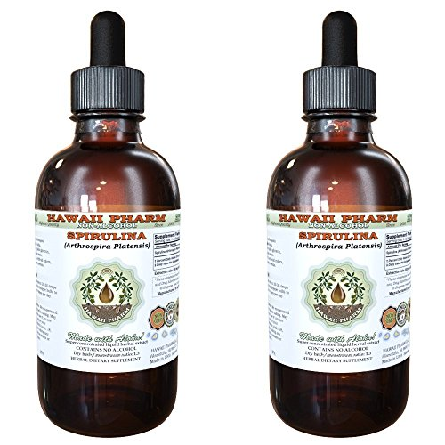 Spirulina Alcohol-FREE Liquid Extract, Organic Spirulina (Arthrospira platensis) Dried Algae Glycerite 2x4 oz by HawaiiPharm
