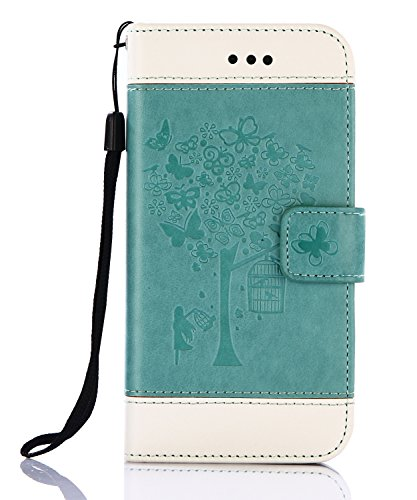 iPhone 8 Plus Case,iPhone 7 Plus Wallet Case, FLYEE Flip Case Wallet Leather [Kickstand] Emboss Butterfly Tree Folio Magnetic Protective Cover with Card Slots for Apple iPhone8 Plus Tree-Green
