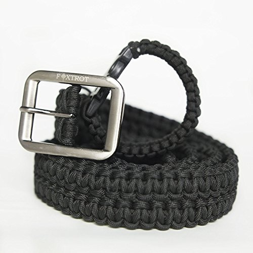FOXTROT Black 550lb Survival Military Grade Paracord Belt with Free Matching Paracord Bracelet!!!