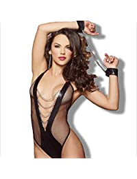 Sexy Lingerie Sexy Lingerie Onesies Costume Ladies Deep V Cats and Women's Siamese Sexy Underwear (Color : Black, Size : One Size)