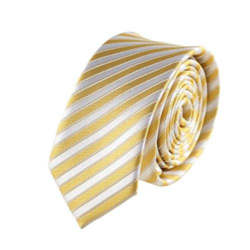 MENDEPOT Silk Necktie With Box Men's Fashion Yellow White Stripe Necktie Skinny Silk Woven Necktie ()