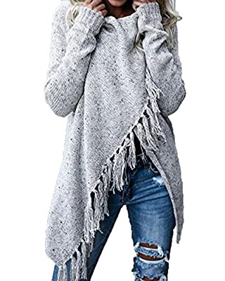 FISACE Women Full Sleeve Knitted Lightweight Speckled Fringe Fall Tassels Slash Sweater Cardigan Poncho