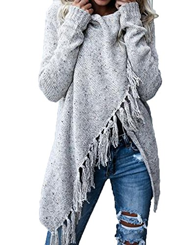 Womens Cardigans Shawls Wraps Poncho with Speckled Fringe Long Sleeve Knit Outwear
