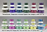 ThermoChromic Temperature Activated Pigment that changes at 88⁰F (31 ⁰C) - Great for making color-changing slime, Paint, Nail Polish, Fabric Art and More (6 x 1g Samples, Sample Pack)