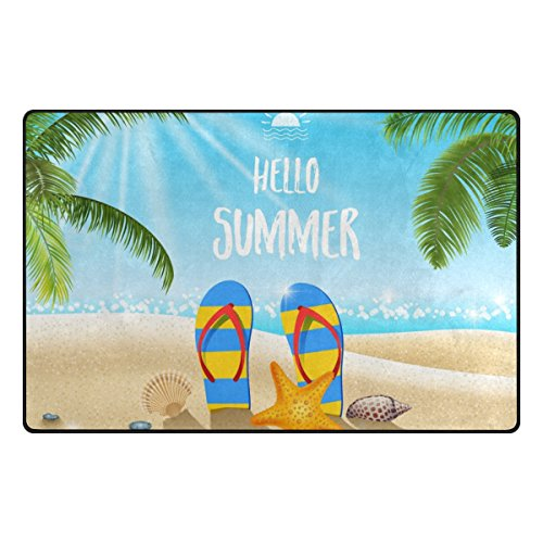 U LIFE Summer Ocean Sea Beach Tropical Palm Trees Large Doormats Area Rug Runner Floor Mat Carpet for Entrance Way Living Room Bedroom Kitchen Office 36 x 24 Inch (Memory Life Sea)