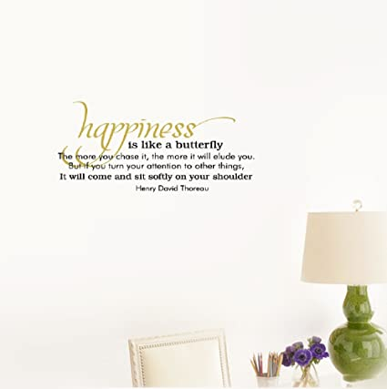 Amazoncom Wall Sticker Quote Happiness Is Like A Butterfly The
