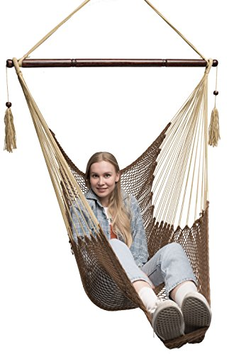 Krazy Outdoors Mayan Hammock Chair - Large Cotton Rope Hanging Chair Swing Wood Bar - Comfortable, Lightweight Indoor & Outdoor Porch, Yard, Patio Bedroom (Mocha Brown) (Hanging Mayan Hammock)