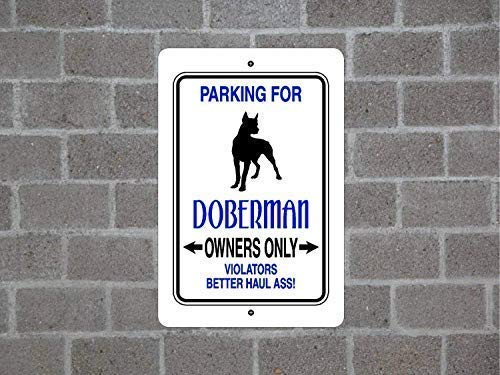 Parking for Doberman Guard Dog Breed Aluminum Yard Fence Sign Metal Tin Signs for Home Bar Garage Fence Yard Office Sign ()