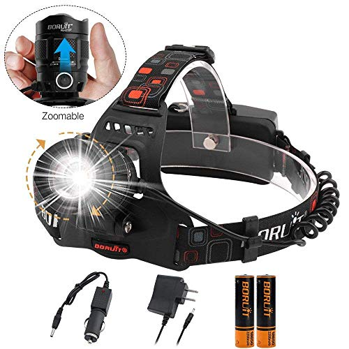 Boruit LED Zoomable Headlamp Flashlight,5 Modes 6000 Lumens IPX5 Waterproof USB Headlamp with Batteries for Camping, Hiking, Reading, Cycling, Hunting, Running