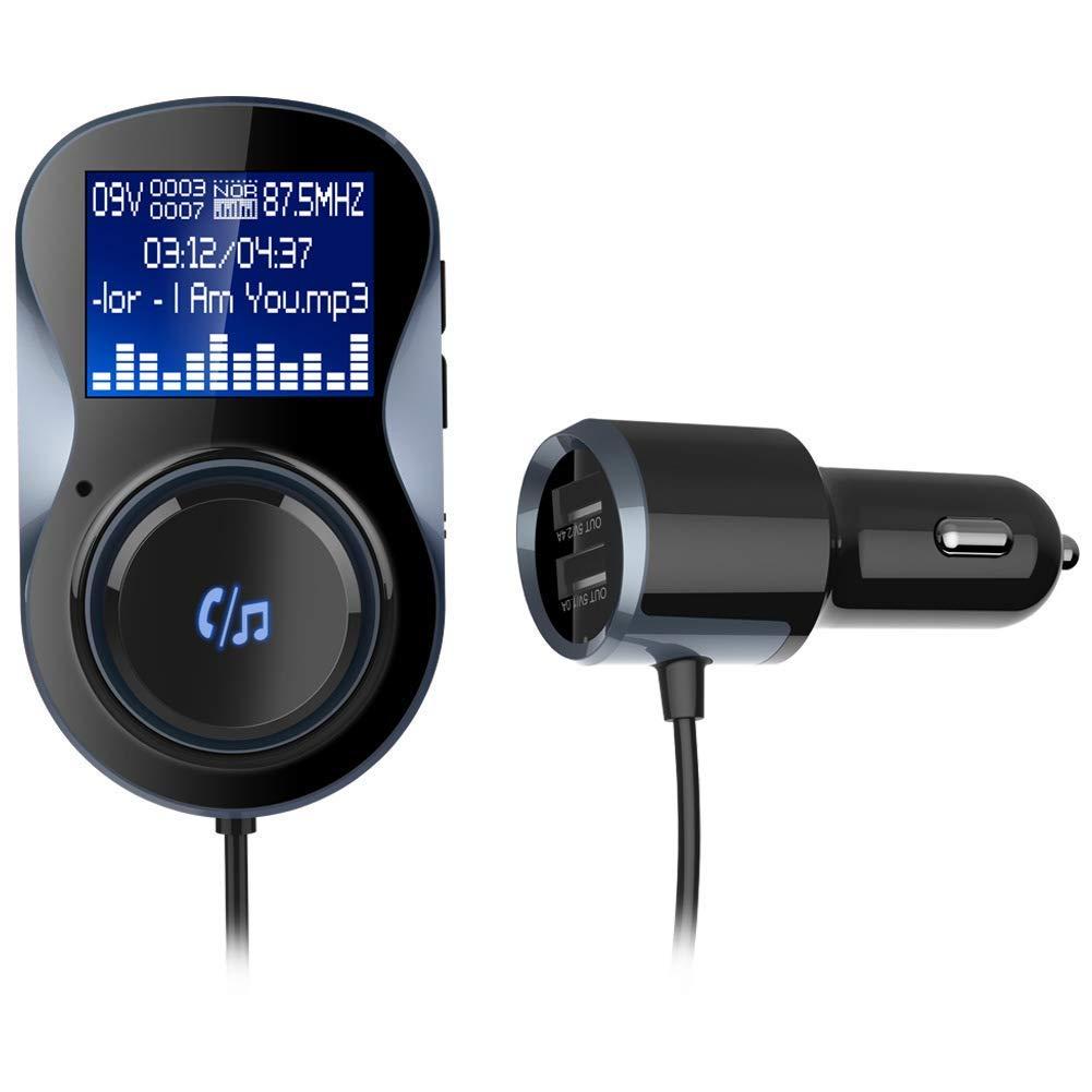 ZBTH Bluetooth FM Car Audio Transmitter, MP3 Music Player, Car FM Modulator Hands-Free Bluetooth Car Kit with LCD Screen, 3.5Mm Audio Port, TF Card Slot(No Memory Card)